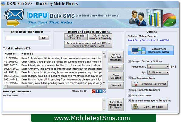 Windows 7 Blackberry Text SMS Software 8.2.1.0 full