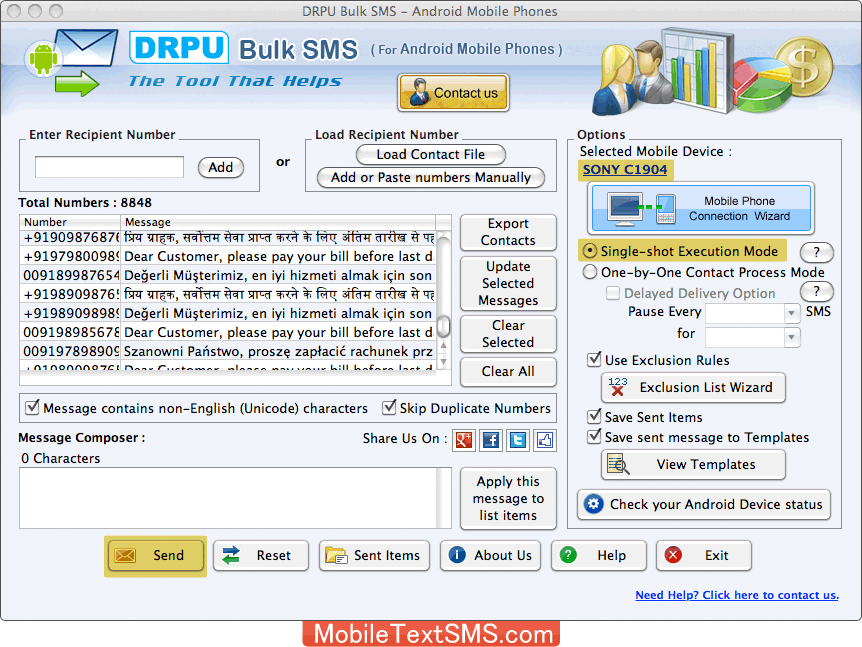 Android mobile text SMS software for Mac instant messaging