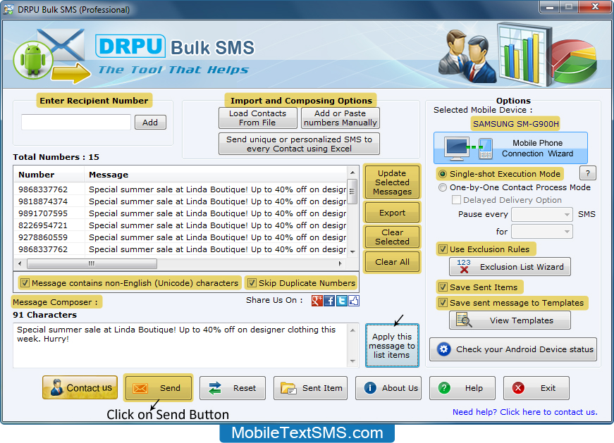 Windows 7 Android Mobile Text SMS Software 9.0.2.3 full