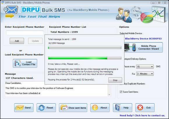 Screenshot of BlackBerry Mobile Marketing
